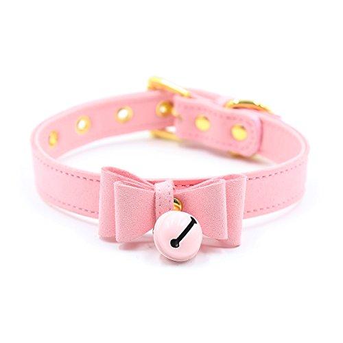 Bell Choker Collar Necklace Lolita Bow Collar Cat Kitty Velvet Necklace(pink)