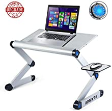 Adjustable Laptop Stand, (2019 Ultra-Large, Upgraded Sturdier) Foldable Aluminum Laptop Desk/Table, Portable Laptop Stand for Bed/Sofa with Large Cooling Fan & Mouse Pad Side as Gift, Silver