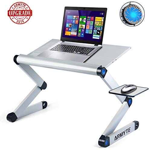 Adjustable Laptop Stand, (Ultra-Large, Upgraded Sturdier) Foldable Aluminum Laptop Desk/Table, Portable Laptop Stand for Bed/Sofa with Large Cooling Fan & Mouse Pad Side as Gift, Silver