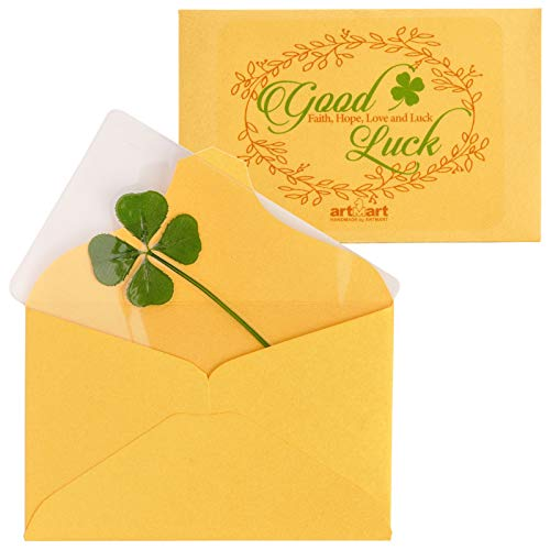 ARTMART Genuine Real 4 Four-Leaf Green Clover St. Saint Patric's Day Bookmarks Irish Shamrock Good Luck Charm for Smartphone Wallet Case Amulet Purse Coating Gift Thanks Card L