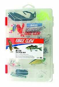Eagle Claw BASS Tackle KIT, 55 Pieces, Contains Assortment of Hooks, SINKERS and Tackle for Freshwater BASS Fishing