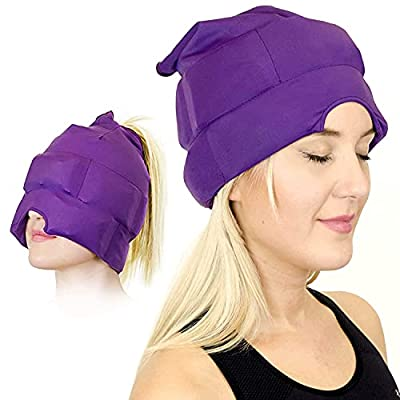 Headache and Migraine Relief Cap - A Headache Ice Mask or Hat Used for Migraines and Tension Headache Relief. Stretchy, Comfortable, Dark and Cool (by Magic Gel) from Magic Gel