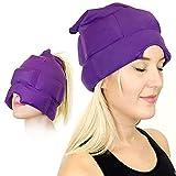 Gorra de alivio de dolor de cabeza y migraña, una máscara de hielo o sombrero utilizado para migrañas y alivio de dolor de cabeza tensión, elástico, cómodo, oscuro y fresco (por Magic Gel)