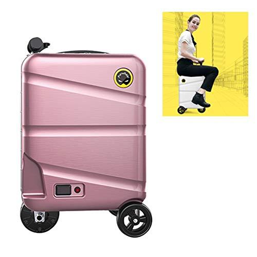 AJL 20-Zoll-Elektro-Einrad fährt Koffer - Intelligente Bemannen rittig Gepäck Scooter, Travel Tragbarer Trolley Aufbewahrungskoffer mit abnehmbaren Energien-Bank-Batterie (Color : Pink)