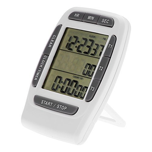 Surebuy Temporizador de 3 Canales, Reloj de Cuenta Regresiva LCD liviano con función de Memoria para el Aula para cocinar para Hacer Ejercicio