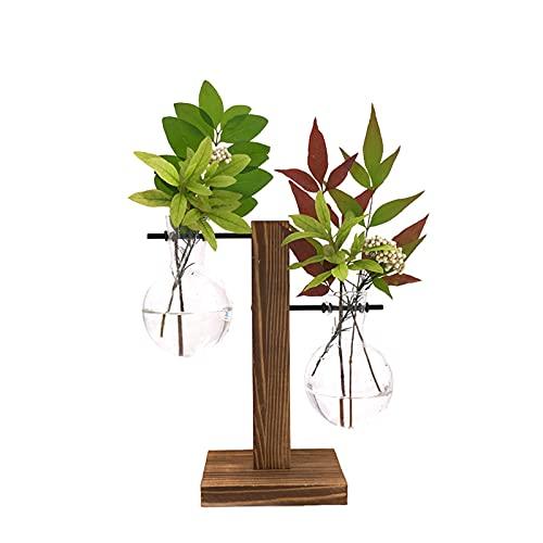ADESUGATA - Maceta de vidrio hidropónico, jarrón transparente, jarrones con soporte de madera vintage para plantas hidropónicas, hogar, oficina, jardín, decoración de boda (19 x 10 cm)