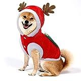 F FINEC Vestiti per Cani Natale Costume da Babbo Natale Renna Felpa Invernale con Cappuccio Cappotto Rosso per Cani Giacca Invernale Costume Natale Cane (XL)