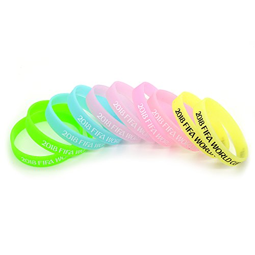 2018 WORLD CUP Soccer Sports Party Favors Silicone Bracelets, 10-Piece Set, Unisex Design, soft and Durable Wristbands, Non-Toxic, Hypoallergenic