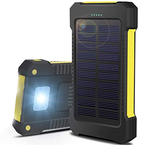 Solar Portable Charger Power Bank 8000mAh External Battery Pack Dual USB C Phone Charger Fast Charging Cell Phone Charger Battery LED Flashlight for iPhone 11 Pro Max Ipad Samsung Galaxy S20 Note10