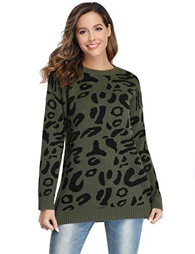 Akalnny Jersey Mujer Cuello Redondo Manga Larga Suéteres de Leopardo de Moda Oversize Prendas de Punto para Otoño Invierno Verde Militar
