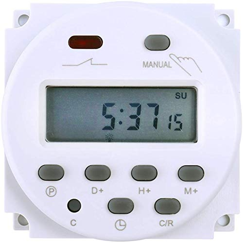 FAVOLCANO Elektronischer Timer, Zeitschalter, DC12V 16A, 17 Programme Programmierbar, LCD Display