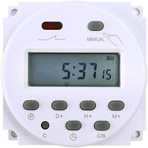 FAVOLCANO Q00050A1 Elektronischer Timer Zeitschalter 12V 16A 17 Programme Programmierbar LCD Display