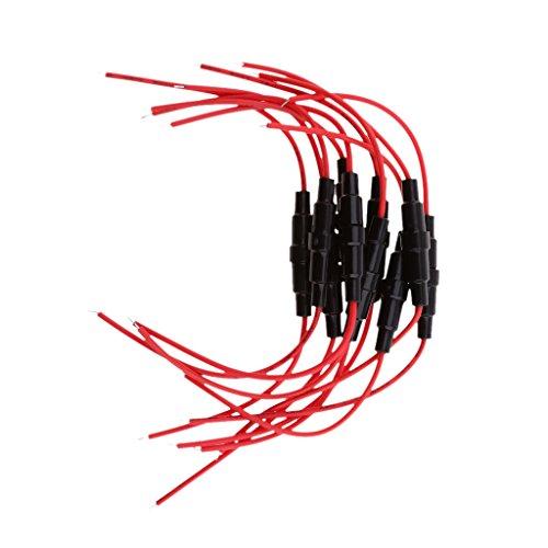 10PCS 10x38mm AGC Blow Glas Sicherungshalter In-Line Mit 16AWG Kabel