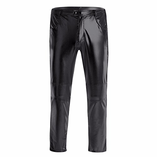 YiZYiF Glänzende Herren Slim Fit Soft PU Faux Leder Biker Hose Trachtenlederhose Trachtenlederhose Lederhosen Schwarz XX-Large