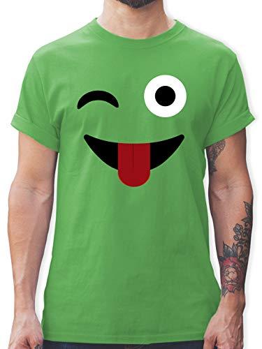 Karneval & Fasching - Zwinker Zunge Emoticon Karneval - M - Grün - Kinderkarneval - L190 - Tshirt Herren und Männer T-Shirts