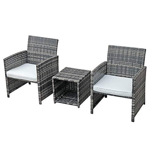 OC Orange-Casual 3-Piece Outdoor Wicker Bistro Patio Furniture Set Cushioned Chair Conversation Set & Storage Side Table   Space Saving Design   Garden Lawn