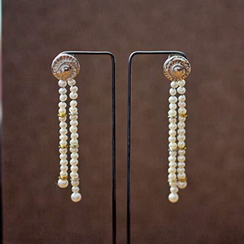 Lange Perlen-Ohrringe Silber hängend Süßwasserperlen Ohrstecker Silber 925 Damen Mädchen Geschenke für sie handgefertigt