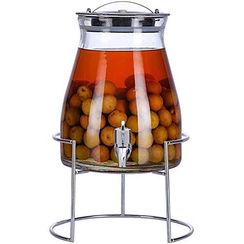 NZKW 5L Glass Getränkespender, Beheizbarer Wassertopf, Unterhaltungsküche Glaskrug Für Wasser, Saft, Wein, Kombucha Und Kalte Getränke,5Lstainlesssteel