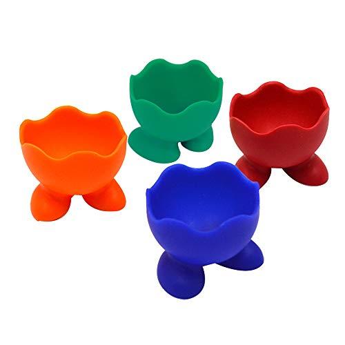 AiSi 4-er Silikon Kinder Eierbecher Set, Eierständer Eier Becher mit kleine Füße, Spülmaschinen geeignet, grün blau rot orange