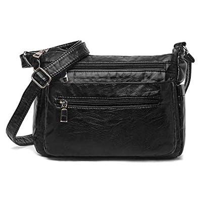 Women Crossbody Bag Pocketbooks Soft Leather Purses and Handbags Lightweight Multi Pocket Shoulder Bag Messenger Bag