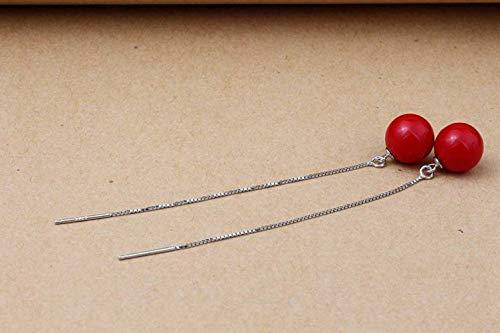 LOt Pendientes de Perlas de Perlas Rojas Y Blancas de Moda Japonesa S925 con Línea de Oreja de Plata de Ley para Mujerrojo