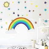 Dibujos animados arco iris estrellas etiqueta de la pared para los niños habitaciones sala dormitorio decoración papel pintado color mural niño pegatinas para el enfermero