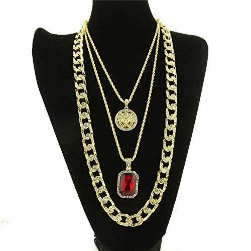 Gepersonaliseerde accessoires, Kettingen, Diamanten Ruby Hanger Schoonheid Hoofd Hanger Diamant Cubaanse Ketting Heren Hip Hop Set Sieraden Set Rood, Thumby Goud Rood