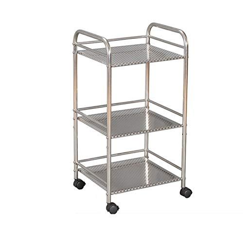 XCZW Küchenregal Küchenboden Edelstahl Beweglichen Bodentyp Multifunktionales Lagergestell Mit Rädern (Color : White, Size : 13.8x25.6x10inch)