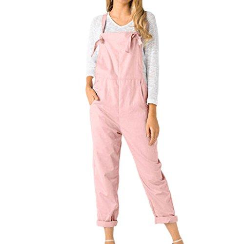 Kobay Women Playsuit Pants Loose Dungarees Loose Long Pockets Rompers Jumpsuit Trousers Pink