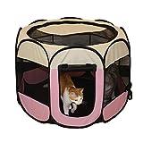 QZZQ Pop up Tente Portable Animal De Compagnie Tente, Chien Chat Maison Clôture Lavable Plier Anis Étoilé Clôture Tente de Plage (Color : Pink)