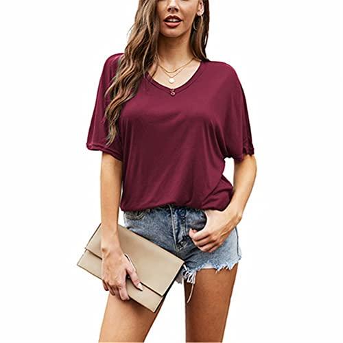LYAZFC Camiseta de Manga Corta Ligera con Cuello en V y Color sólido de Verano para Mujer