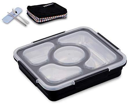Pkfinrd Lunch BoxStudent White-Collar Compartiment Lekt geen voedsel of Meng Milieuvriendelijke Bento Boxen met Bestek China Zwart 4 Set
