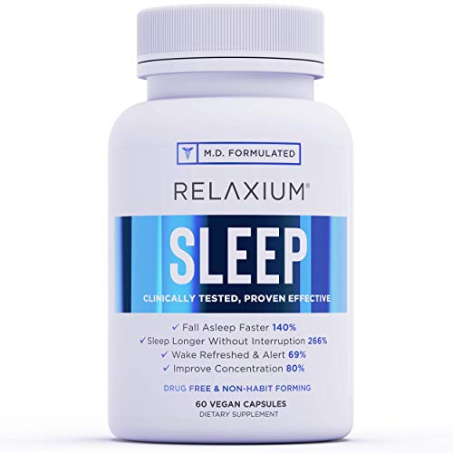 Relaxium Natural Sleep Aid | Non-Habit Forming | Sleep Supplement for Longer Sleep & Stress Relief w/Magnesium, Melatonin, GABA, Chamomile, & Valerian (60 Vegan Capsules, 30 Day Supply)