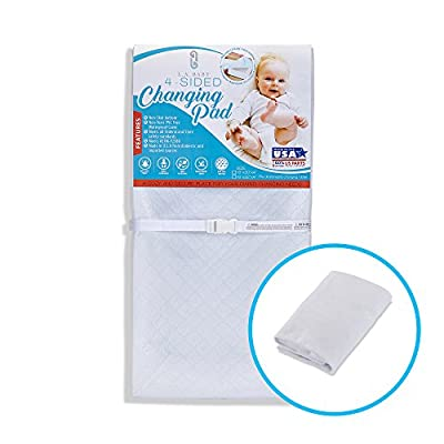 "[Combo Pack]LA Baby Waterproof 4 Sided Changing Pad 30"" & White Terry Cover - Made in USA. Easy to Clean, Non-Skid Bottom, Safety Strap, Fits All Standard Changing Tables for Best Diaper Change"