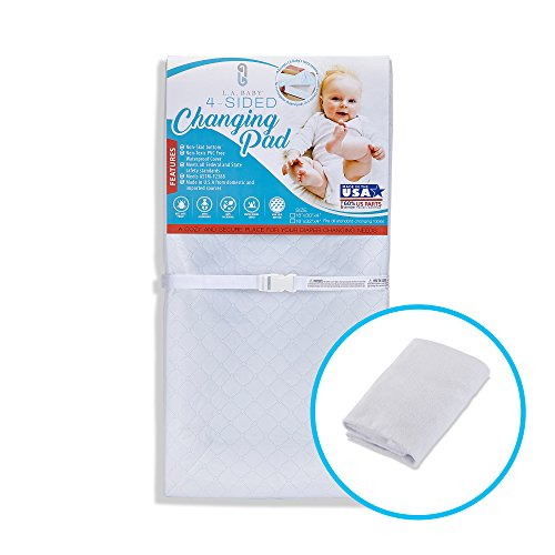"""[Combo Pack] LA Baby 4-Sided Waterproof Diaper Changing Pad, 30"""" with Bonus Washable White Terry Cover - Made in USA. Non-Skid Bottom, Safety Strap, Fits All Standard Changing Tables/Dresser Tops"""