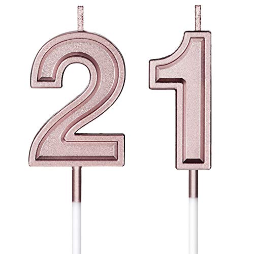 21st Birthday Candles Cake Numeral Candles Happy Birthday Cake Candles Topper Decoration for Birthday Wedding Anniversary Celebration Favor (Rose Gold)