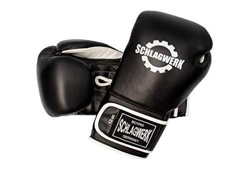 SCHLAGWERK Boxhandschuhe TS 2.0 Certifiziertes -Rindsleder 16 Oz. NEU Überarbeitet (Schwarz/Weiss) mit Klettverschluss