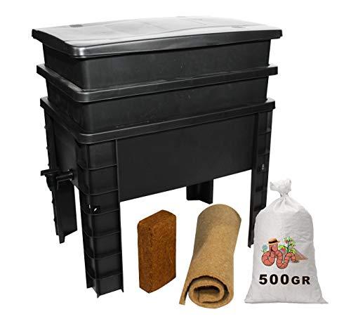WormBox Urban Worm, Lombrikomposter mit 2 Tabletts I 500 g Kompostwürmer I Komplett-Set I große Kapazität 68 Liter