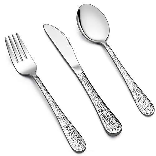 LIANYU 12-Piece Kids Utensils Silverware Set, Stainless Steel Toddler Hammered Flatware Cutlery, Children Tableware Includes Knives Forks Spoons, Dishwasher Safe