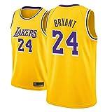 WOLFIRE SC Camiseta de Baloncesto para Hombre, NBA, Los Angeles Lakers #8#24 Kobe Bryant. Bordado Swingman Transpirable y Resistente al Desgaste Camiseta para Fan (Amarilla, XL)