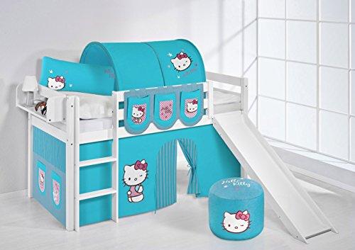 Lilokids Lit Mezzanine JELLE Hello Kitty Turqoise -lit d'enfant Blanc - avec Toboggan et Rideau - lit 90x200 cm