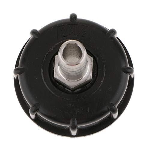Almencla IBC - Adaptador de Tanque de Agua (60 mm a 16 mm), Color Negro