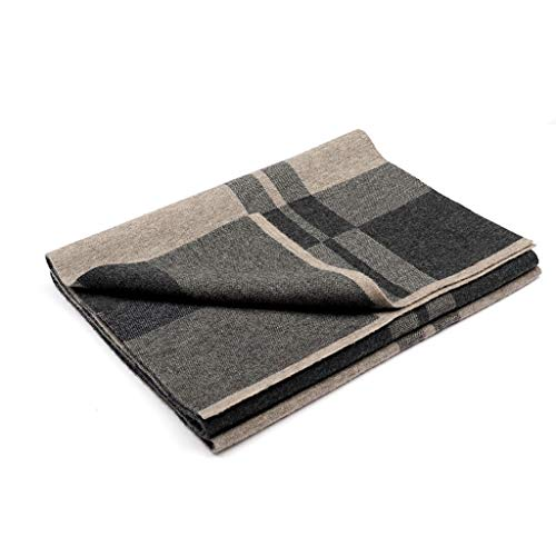 hkwshop Shawl Scarves Men's Wool Scarf Autumn and Winter Wool High-end Gift Box Long Knitted Plaid Fashion Shawl (Color : I)