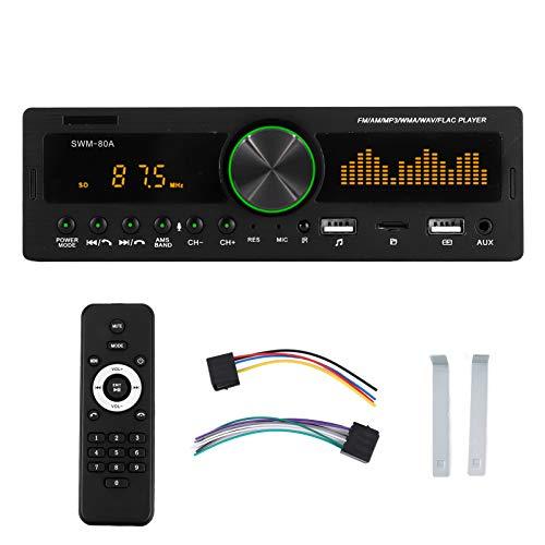 Qiilu Lettore MP3 per auto, lettore audio MP3 Bluetooth 12V 1 DIN con supporto per telecomando per controllo vocale SWM ‑ 80A(Funzione di posizione)