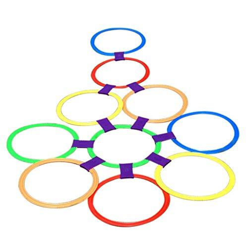 Sharplace 1 Set Hüpfspiel Himmel und Hölle Kinder Spielzeug (10 Ringe & 10 Ring Clips)