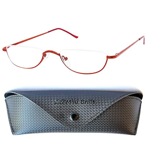 Metall Lesebrille Halbbrille - mit GRATIS Brillenetui und Brillenputztuch, Edelstahl Halb Rund Rahmen (Rot) mit Federscharnier, Lesehilfe Damen und Herren +2.0 Dioptrien