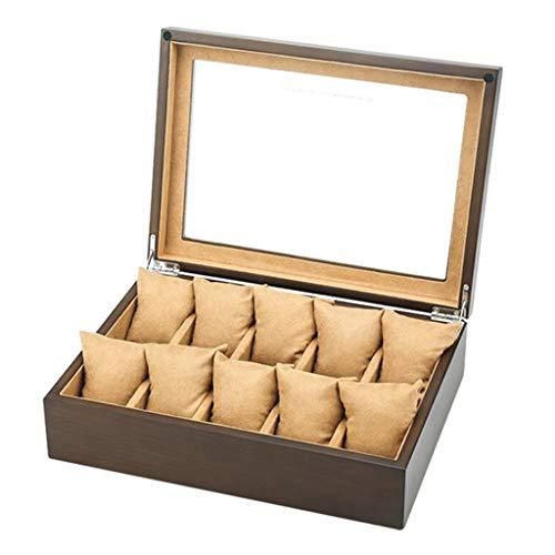 Houten Horloge Box Glas Deksel 10 Horloge Luxe Sieraden Display Opbergdoos Armband Lade met 10 Verwijdering Opslag Kussens - Bruin