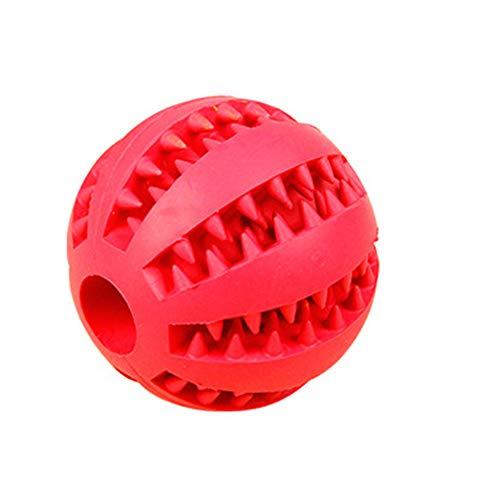 KDSANSO Hundeball mit Zahnpflege-Funktion Hundespielzeug und Kauspielzeug aus Naturkautschuk, Hundespielball für Große & Kleine Hunde, Roter Diamant 5cm