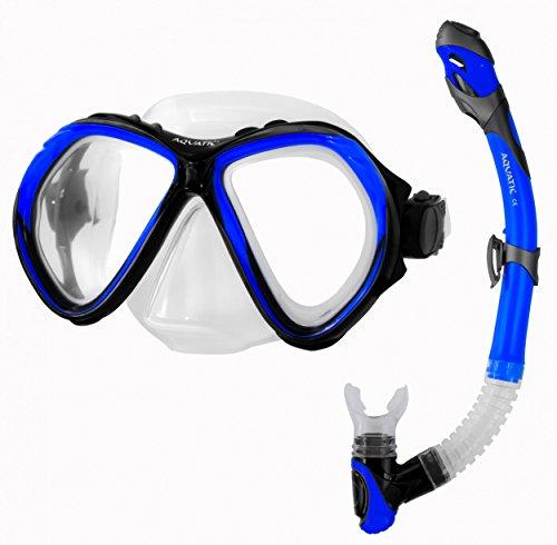 Aqua Speed ZONA & ELBA SET Schnorchel + Taucherbrille (Schnorchelset Soft-Silikon Anti-Fog UV-Schutz), 10/Navy:blau