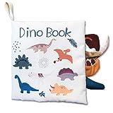 Livres en tissu doux pour bébé, livres interactifs en tissu 3D pour enfants en bas âge, garçons filles jouet de voyage parfait bébé douche précoce jouets éducatifs cadeaux d'anniversaire (dinosaure)…